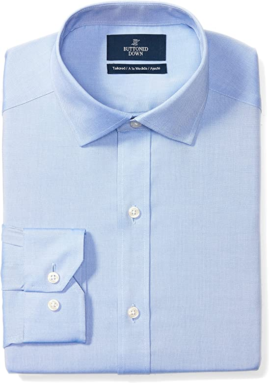 BUTTONED DOWN Mens Classic Fit Spread Collar Solid Non-Iron Dress Shirt 18 Neck 36 Sleeve No Pocket Brand Big and Tall White