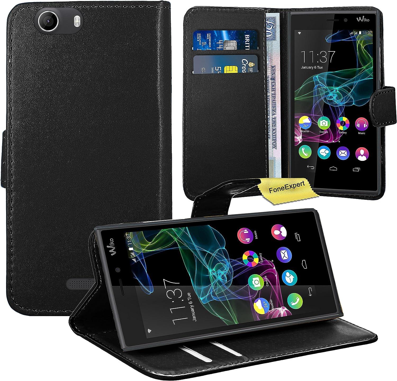 FoneExpert Wiko Ridge 4G Housse Coque Etui Housse Coque en Cuir Portefeuille Wallet Case Cover pour Wiko Ridge 4G (Noir)
