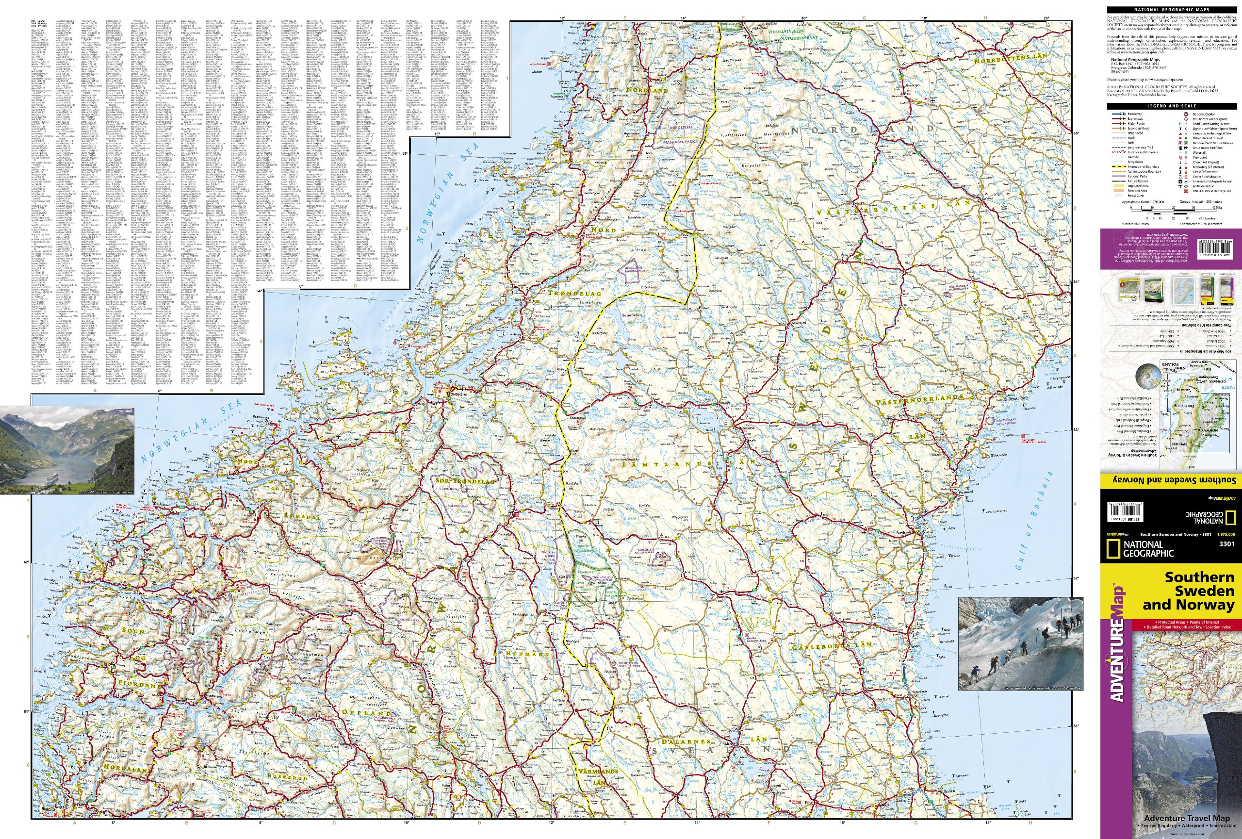 Southern Sweden And Norway National Geographic Adventure Map - Michelin norway map 752