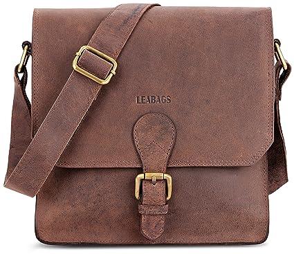 0acc04473 LEABAGS Havanna genuine buffalo leather city bag in vintage style - Nutmeg