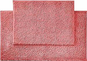 """AmazonBasics Performance Bath Rug Set, 17"""" x 24"""" and 20"""" x 34"""", Coral Pink"""