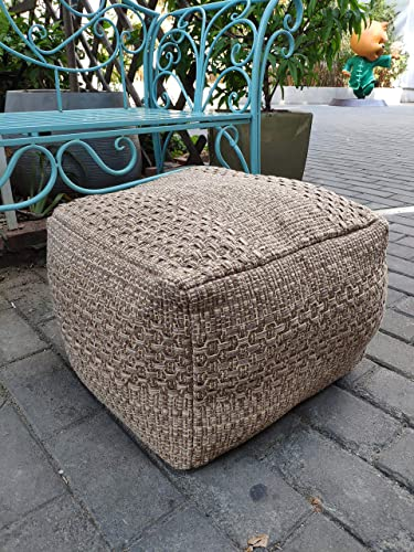 RISEON Boho Hand Woven Contemporary Cotton Linen Fabric Pouf Cover Footstool Ottoman Poufs Unstuffed-Square Floor Cushion Footrest Cover for Living Room, Bedroom and Under Desk Dark Coffee
