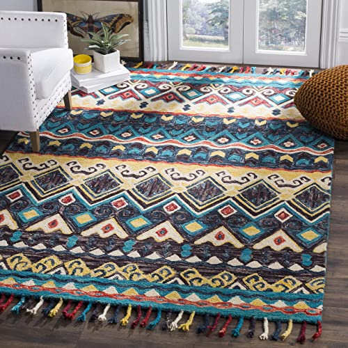 Safavieh Aspen Collection APN137A Handmade Wool Area Rug, 10 x 14 , Blue Red
