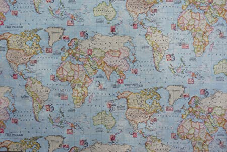 New world map and stamps print 100 cotton designer curtains new world map and stamps print 100 cotton designer curtains bedding cushion covers gumiabroncs Gallery