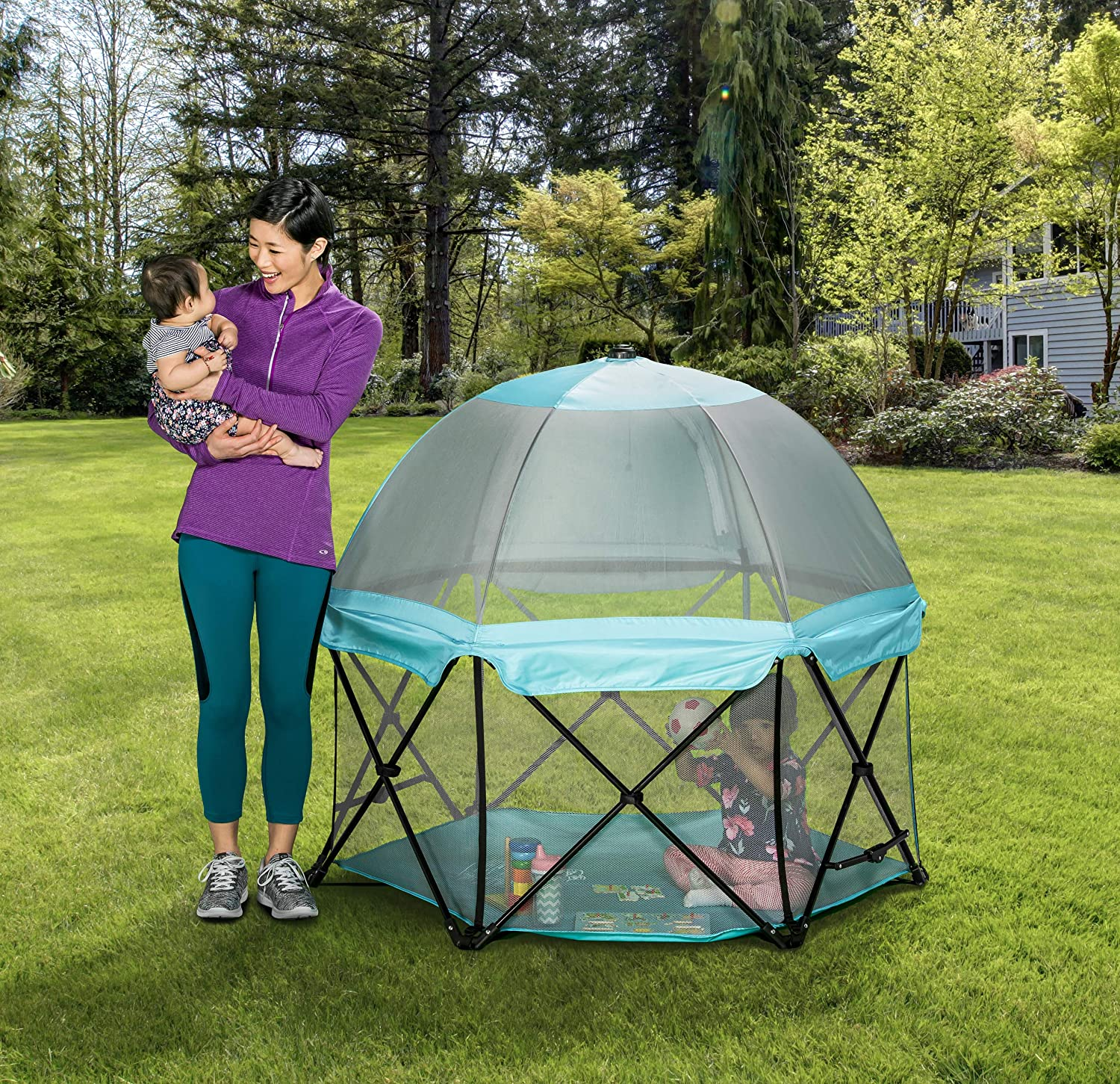 Regalo My Play Portable Play Yard Indoor and Outdoor with Full Coverage Canopy and Carry Case, Adjustable Washable, Aqua, 6-Panel