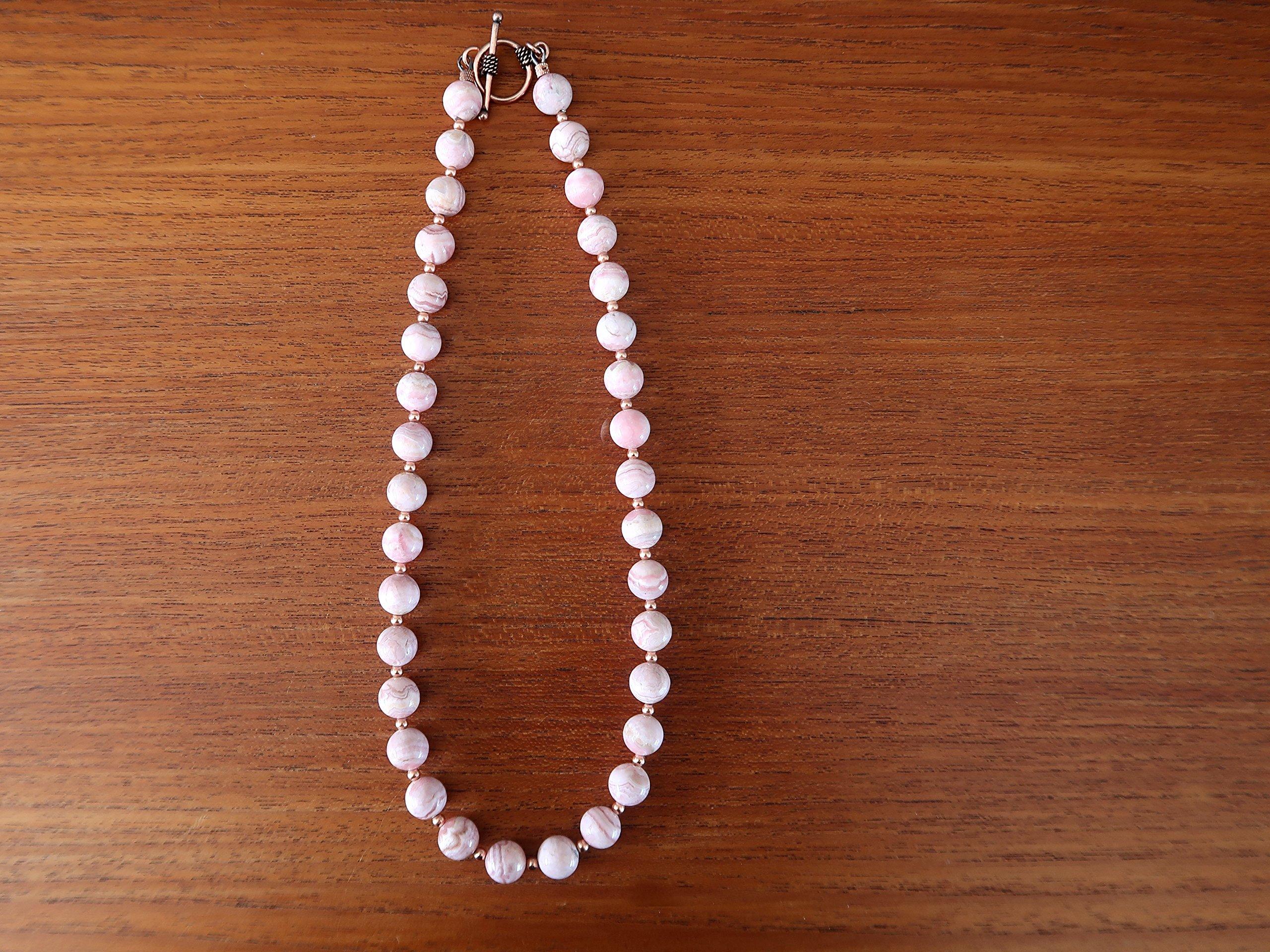 Satin Crystals Rhodochrosite Necklace Boutique Deluxe Pink Genuine Gemstone Round Beaded Copper B01 (17) by SatinCrystals (Image #3)