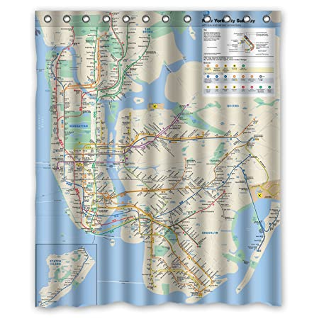 New York City Subway Map Shower Curtain NYC Clear Design With Hooks Amazoncouk Kitchen Home