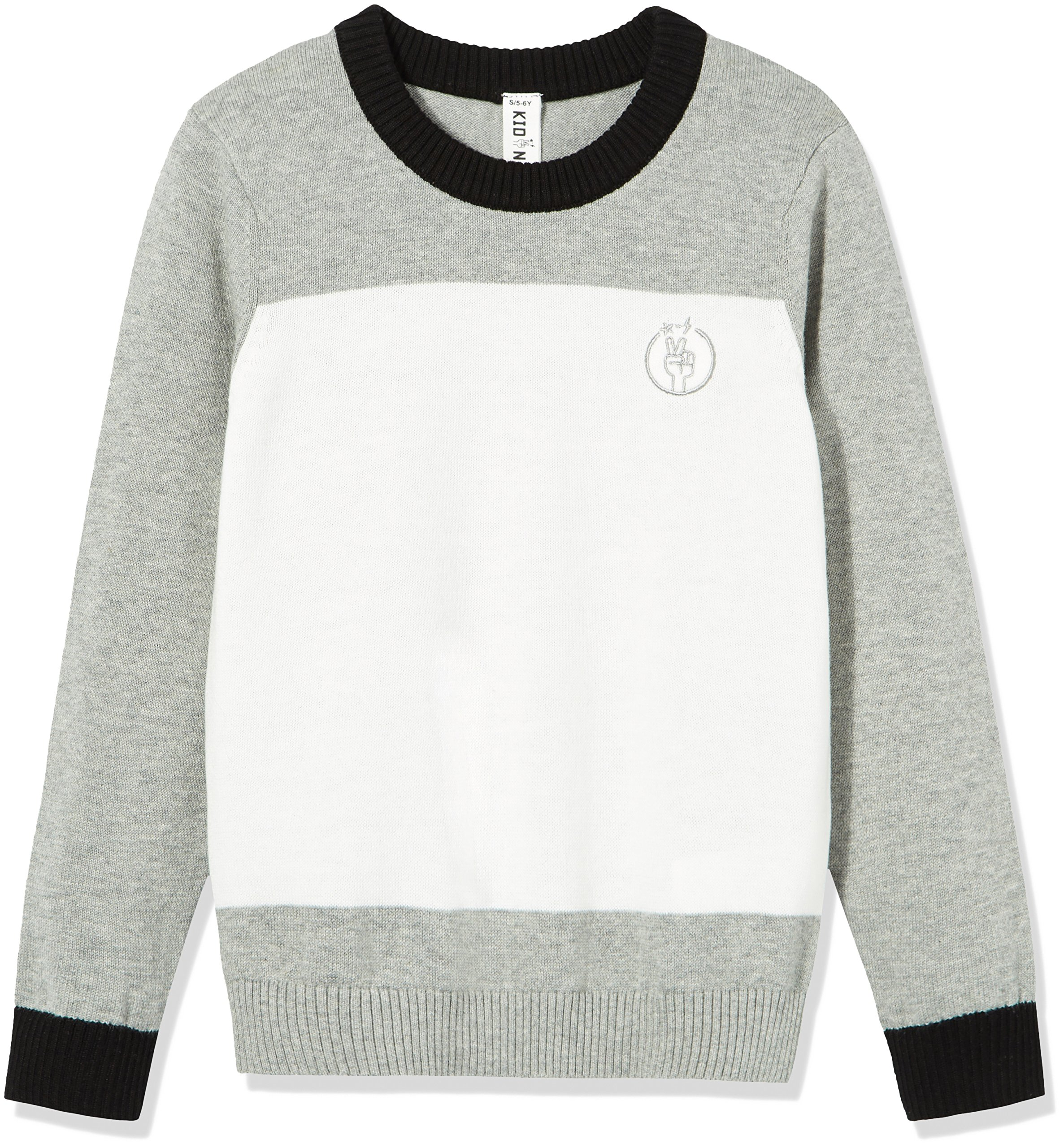 Kid Nation Kids'' Long Sleeve Color Blocked Sweater for Boys or Girls M Grey