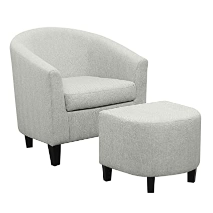 Stupendous Ravenna Home Connor Curved Back Club Accent Chair With Ottoman 27 95W Light Grey Bralicious Painted Fabric Chair Ideas Braliciousco