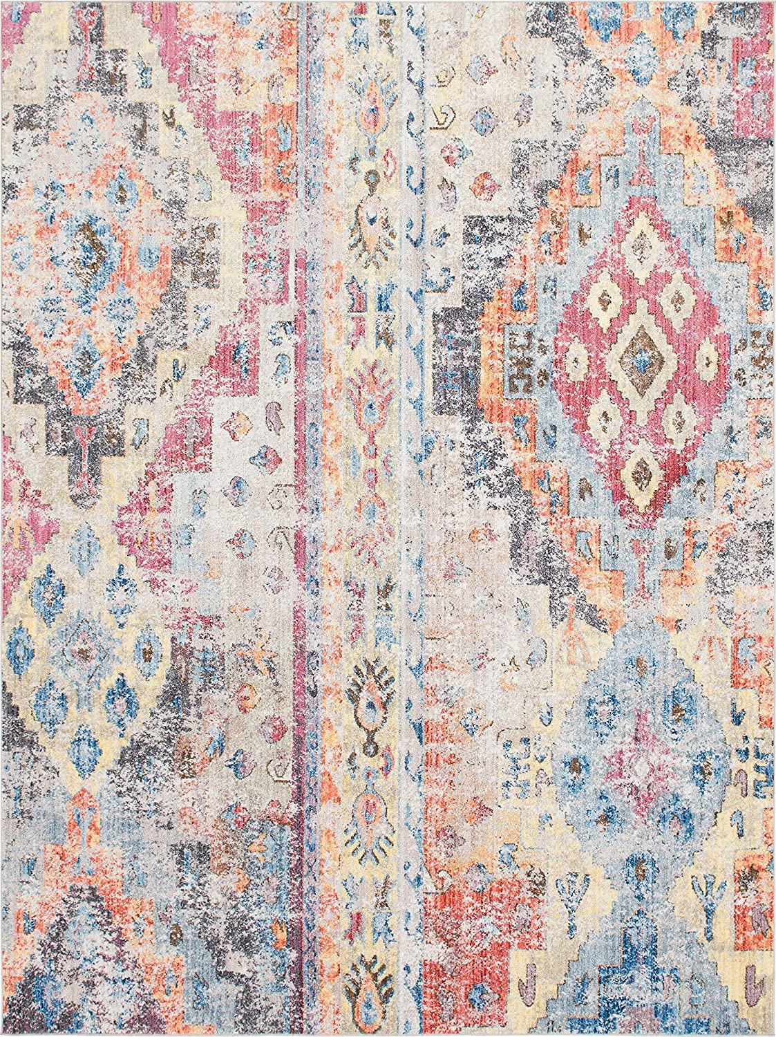 Unique Loom Basilica Collection Vintage Bohemian Traditional Colorful Multi Runner Rug 3143080 2 x 6