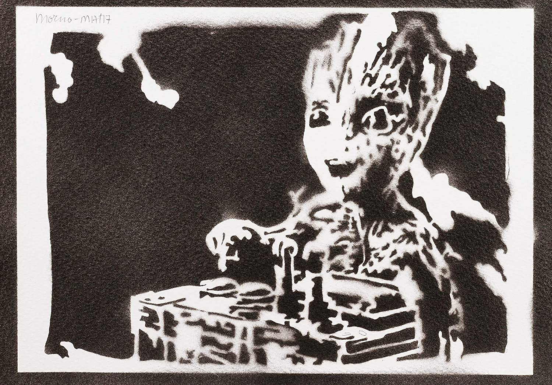 Handmade Street Art P/óster Baby Groot Guardianes De La Galaxia Grafiti Hecho A Mano Artwork