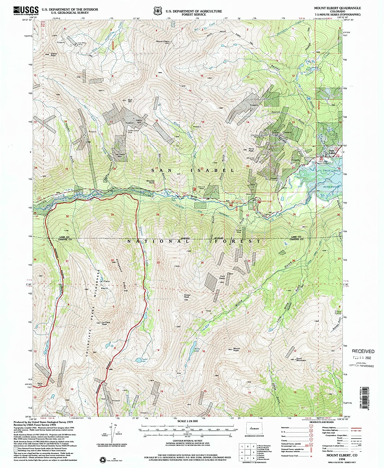 amazoncom mount elbert co topo map 124000 scale 75 x 75 minute historical 1994 updated 2001 267 x 219 in paper sports outdoors