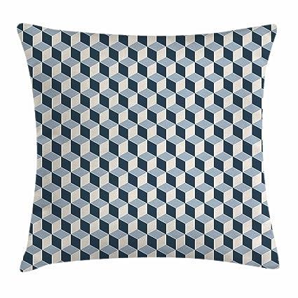 Retro manta almohada Funda de cojín por Ambesonne, 3d estilo cubos cuadrados patrón geométrico Retro