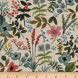 Cotton + Steel Rifle Paper Co. Canvas Amalfi Herb Garden Natural Fabric, Gold/Red/Black, Fabric By The Yard