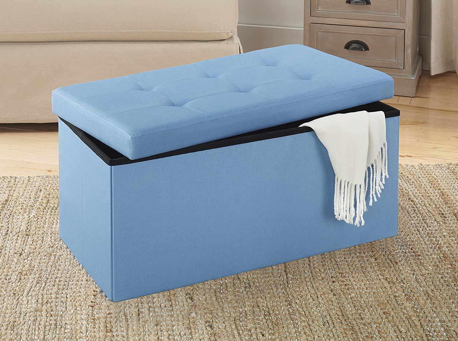 Amazon.com: Whitmor Collapsible Storage Bench-Parisian Blue: Home ...