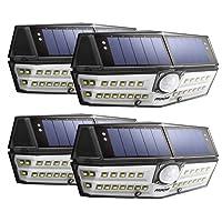 【Version Innovante】4 PACK 30 LED Mpow Lampe Solaire Etanche IPX6 Détecteur de Mouvement Panneau Solaire Amélioré 120° Grand Angle LED Eclairage Solaire Extérieur pour jardin, Garage, Cour, Maison, Escalier, Patio, Allée