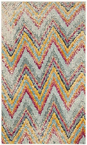 Safavieh Monaco Collection MNC220F Modern Chevron Stripe Multicolored Distressed Area Rug 3 x 5
