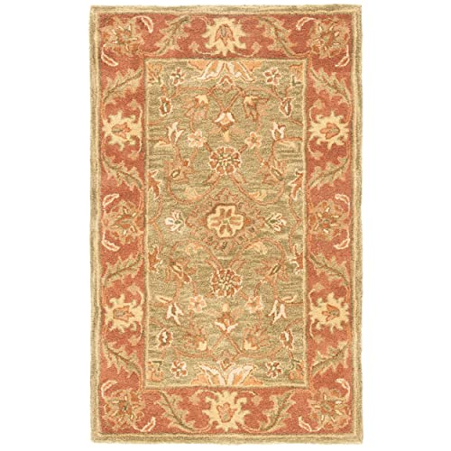 Safavieh Golden Jaipur Collection GJ250A Handmade Green and Rust Premium Wool Area Rug 3 x 5