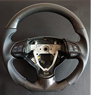 Carbon Fiber steering wheel Mitsubishi Lancer Evolution X black perforated Genuine Leather