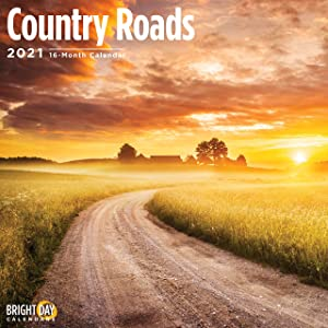 2021 Country Roads Wall Calendar by Bright Day, 12 x 12 Inch, Nature Roadtrip Season Pathways Trees