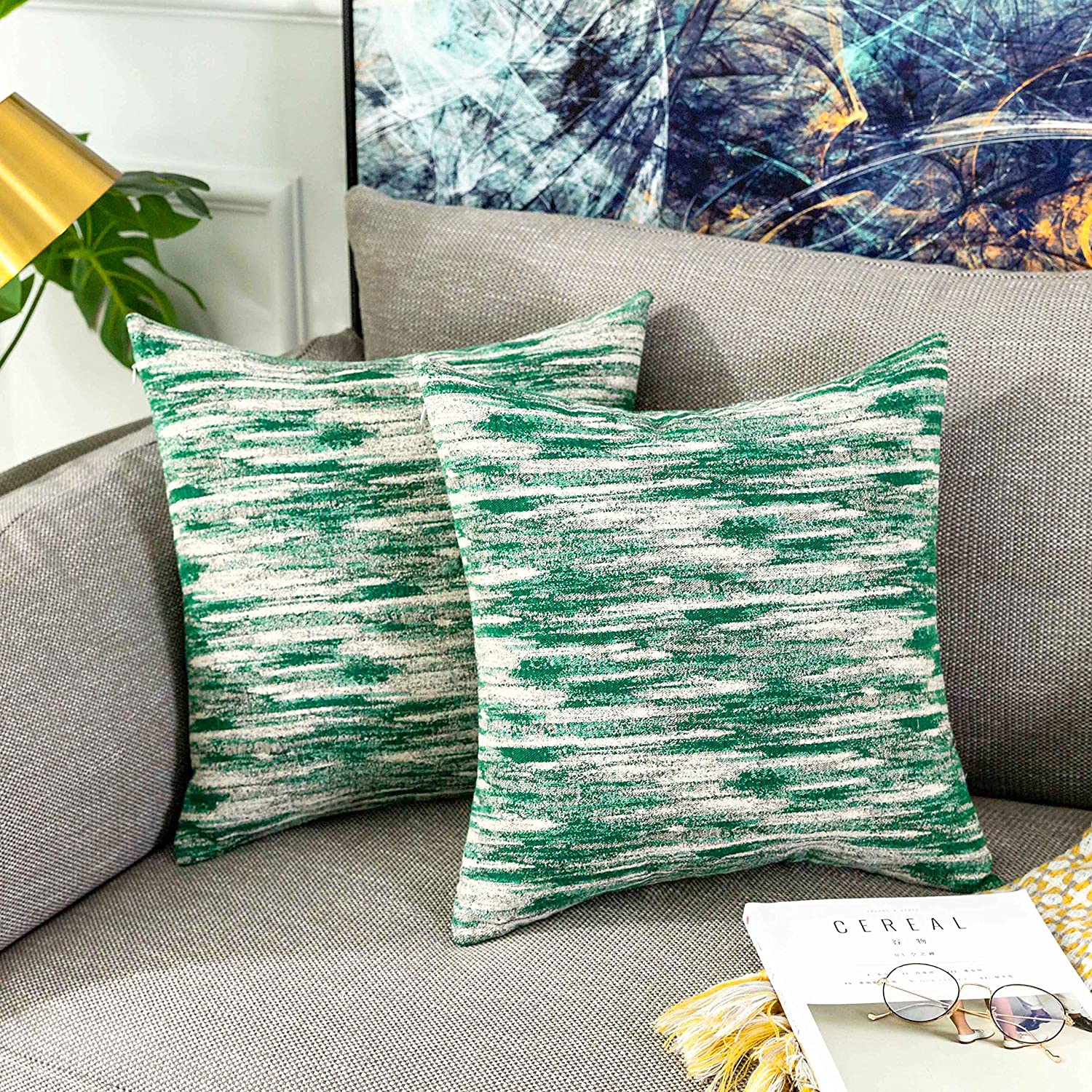 Amazon Com Home Brilliant Abstract Textured Pillow Covers Decorative Cushion Covers For Bed 18x18 Inches 45x45 Cm 2 Pack Green Home Kitchen