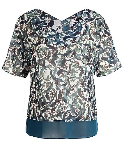 Chicwe Mujeres Tallas Grandes Estampado Top Blusa con Dobladillo Contraste V Cuello - Camiseta Casua...
