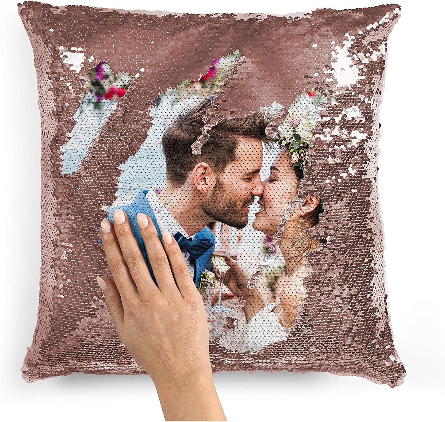 Amazon Com Custom Photo Sequin Pillow Cases Rose Gold Mermaid Sequin Pillow Case W Any Picture Magic Reversible Throw Pillowcases Decorative Cushion Pillow Cover For Couch Home Decor Personalized Gifts Home