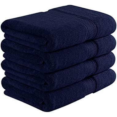 Utopia Towels 700 GSM Premium Navy Blue Bath Towel Set - Pack of 4 - (27 x 54 Inches) - 100% Ring-Spun Cotton Towels for Home, Hotel and Spa – Towels Set with Maximum Softness and High Absorbency