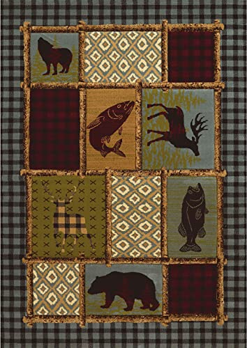Westfield Home Wildwood Borded Montage Multi Hand-Carved Area Rug 5 3×7 6 – 5 3 x 7 6