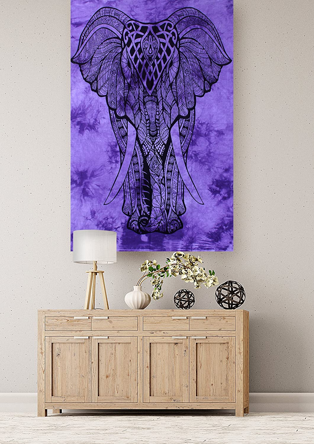 Wonderful Wall Hanging Purple Color Elehpant Desgin Small Cotton Tapestry Poster