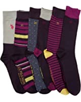 6 Pairs of U.S. POLO ASSN. Designer Dress Socks for Men, Men Dress Socks