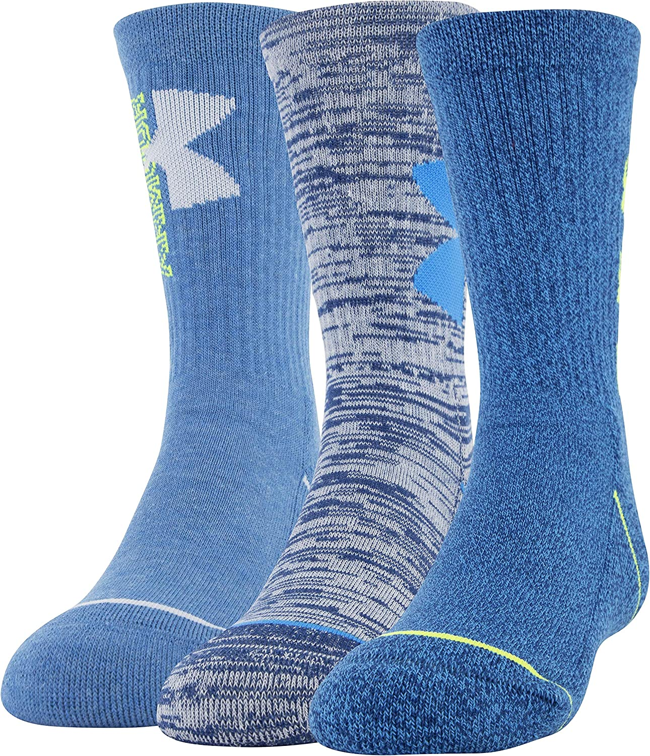 Under Armour Youth Phenom Crew Socks, 3-Pairs, Graphite Blue/Halo Gray, Shoe Size: Youth 13.5K-4Y: Sports & Outdoors