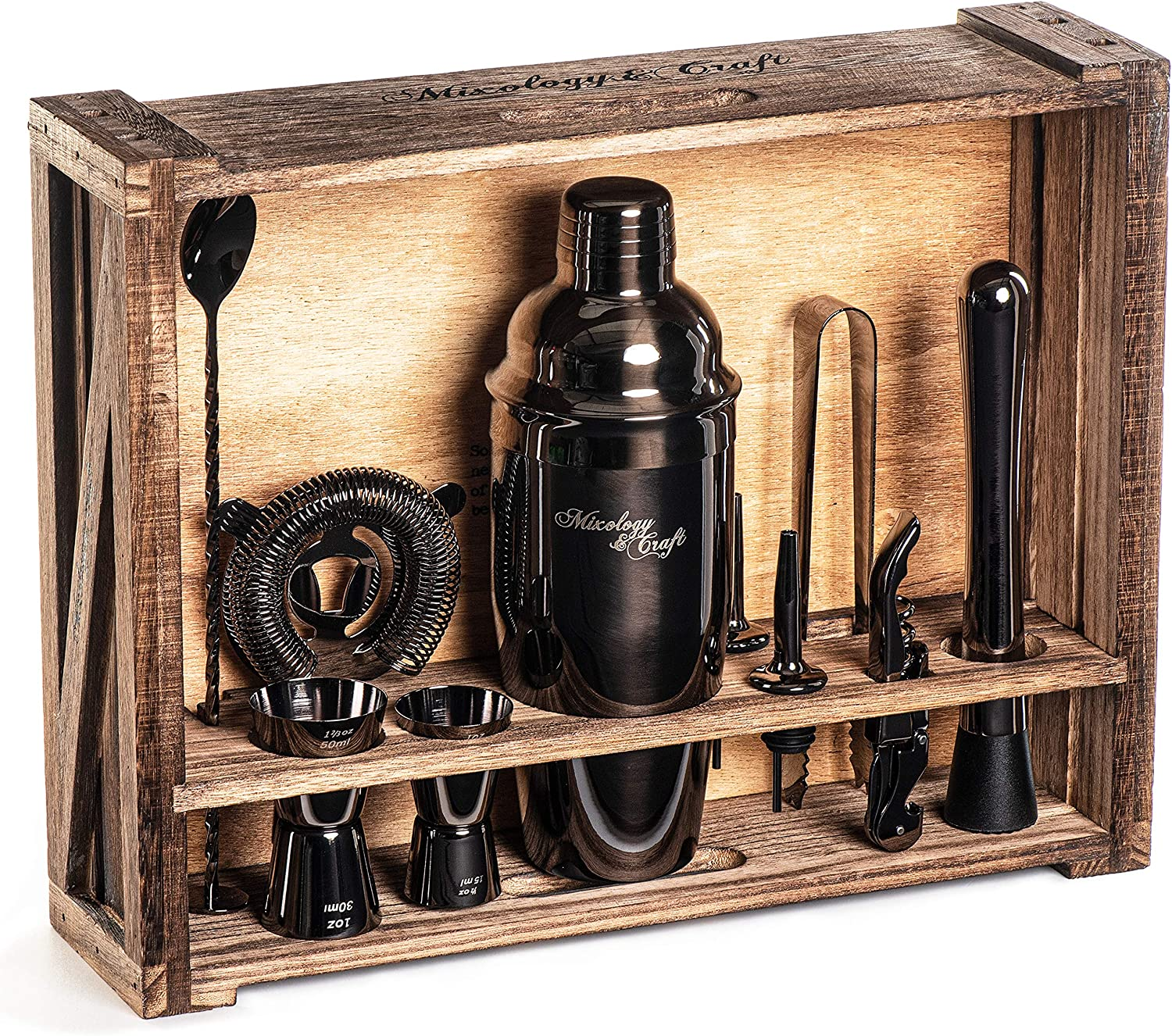 Mixology Bartender Kit: 11-Piece Black Bar Set Cocktail Shaker Set with Rustic Wood Stand | Perfect Home Bartending Kit with Gun Metal Bar Tools and Martini Shaker for Foolproof Drink Mixing
