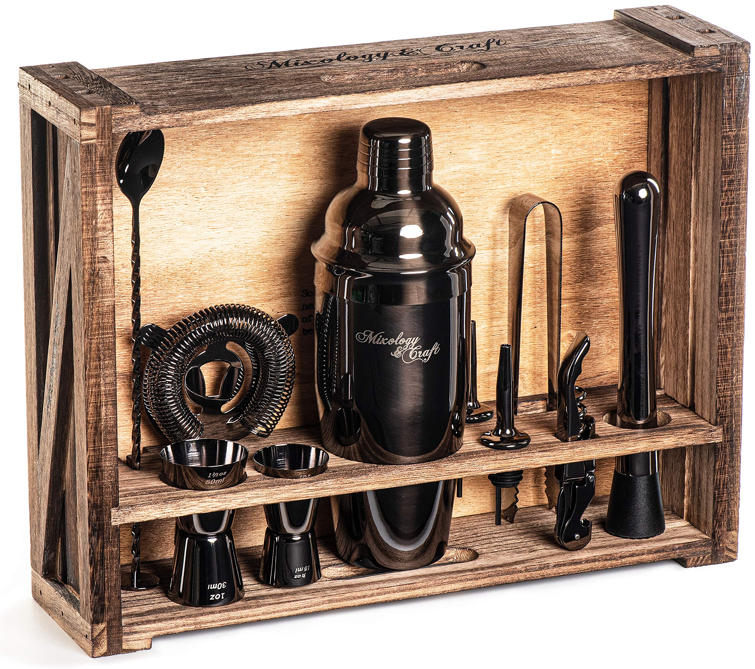 Mixology Bartender Kit: 11-Piece Black Bar Set Cocktail Shaker Set with Rustic Wood Stand | Perfect Home Bartending Kit with Gun Metal Bar Tools and Martini Shaker for Foolproof Drink Mixing by Mixology & Craft