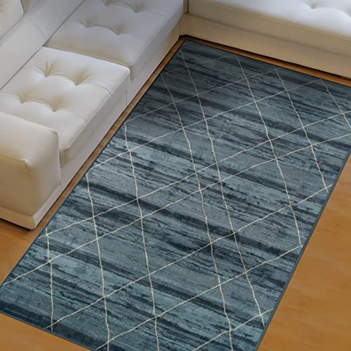 Superior Cullen Collection Area Rug, 10mm Pile Height with Jute Backing, Fashionable and Affordable Rugs, Sketched Windowpane Pattern over Watercolor Stripes – 4 x 6