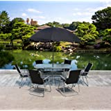 WestWood Garden Patio Table Set 6 Chairs With Parasol Black 8 Piece Outdoor Dining Furniture Seating GTS02