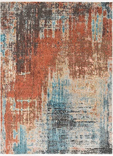 Well Woven Renni Multi Red Blue Abstract Geometric Distressed Pattern Boho Area Rug 8×10 7'10″ x 9'10″