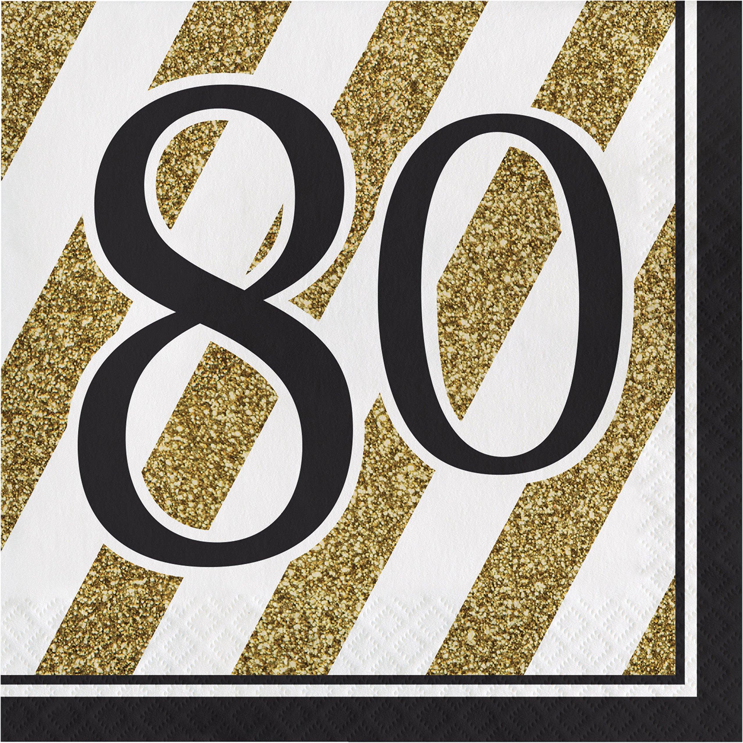 Black and Gold 80th Birthday Napkins, 48 ct
