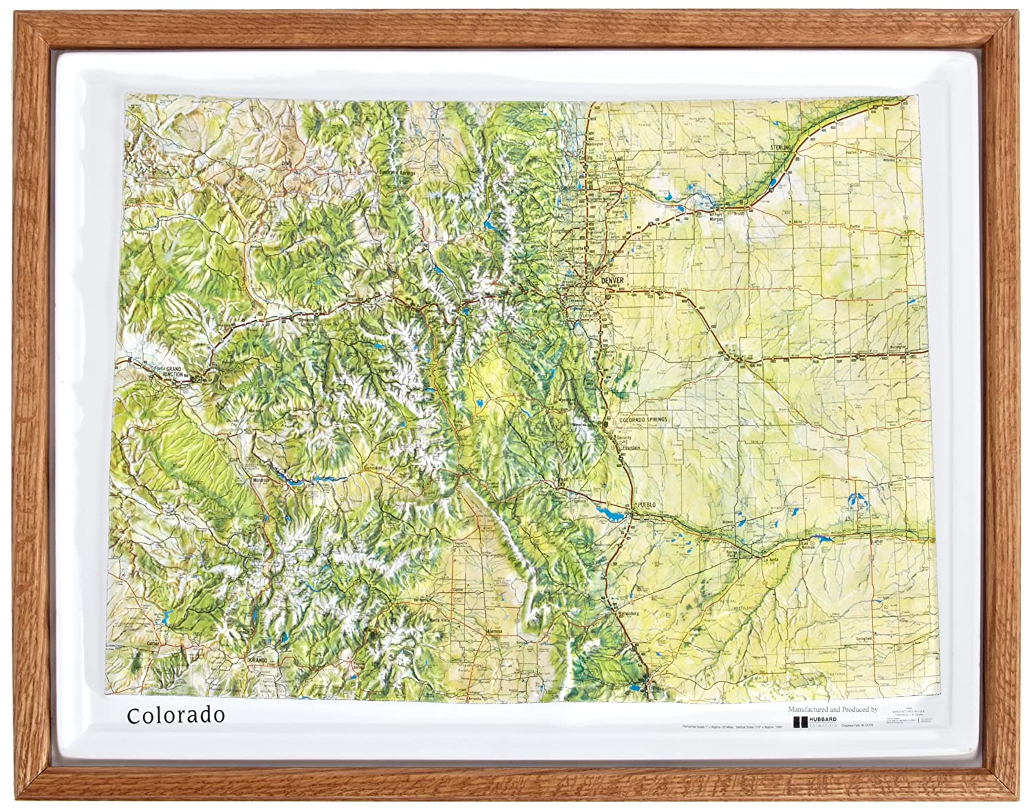 American Educational Colorado Natural Color Relief Map with Oak Wood Frame, 17-3/4' Length x 22-3/4' Width 17-3/4 Length x 22-3/4 Width K-CO2217-FW