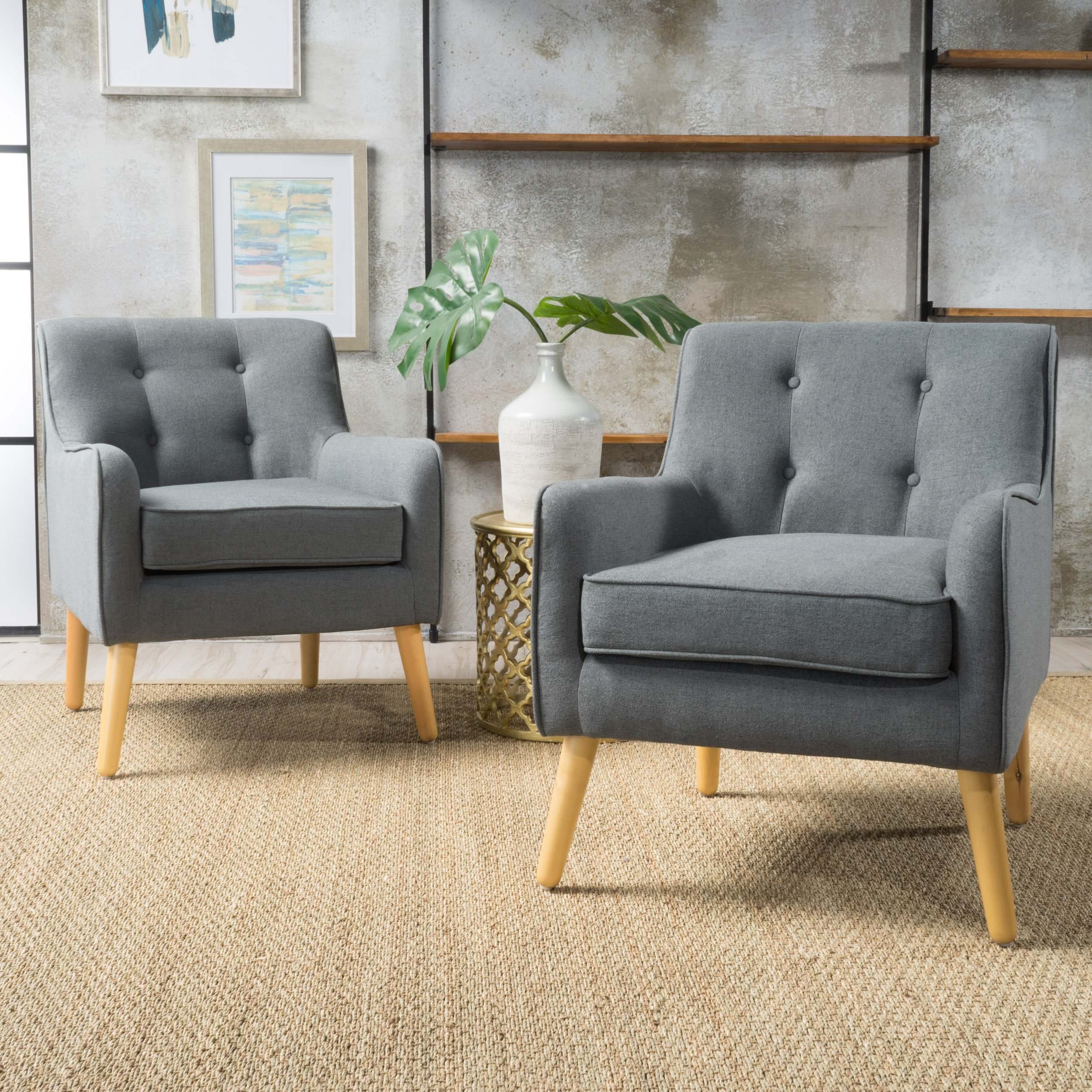Christopher Knight Home 300571 Felicity Arm Chair (Set of 2), Charcoal by Christopher Knight Home