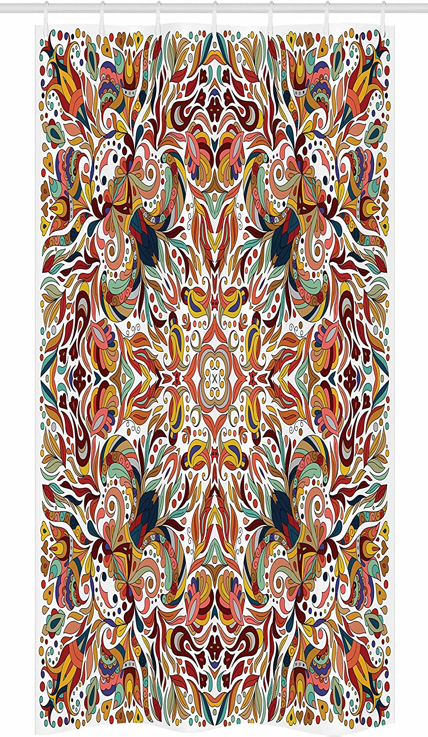 """Ambesonne Batik Stall Shower Curtain, Floral Persian Lines Middle Eastern Floral Bouquet Inspired Bohemian Print, Fabric Bathroom Decor Set with Hooks, 36"""" X 72"""", Multicolor"""