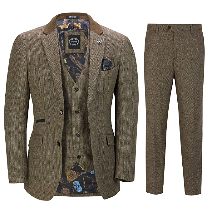 1960s Mens Suits | 70s Mens Disco Suits Xposed Mens 3 Piece Herringbone Tweed Suit in Brown Retro Peaky Blinders Style Fitted Blazer Waistcoat Trousers £119.99 AT vintagedancer.com