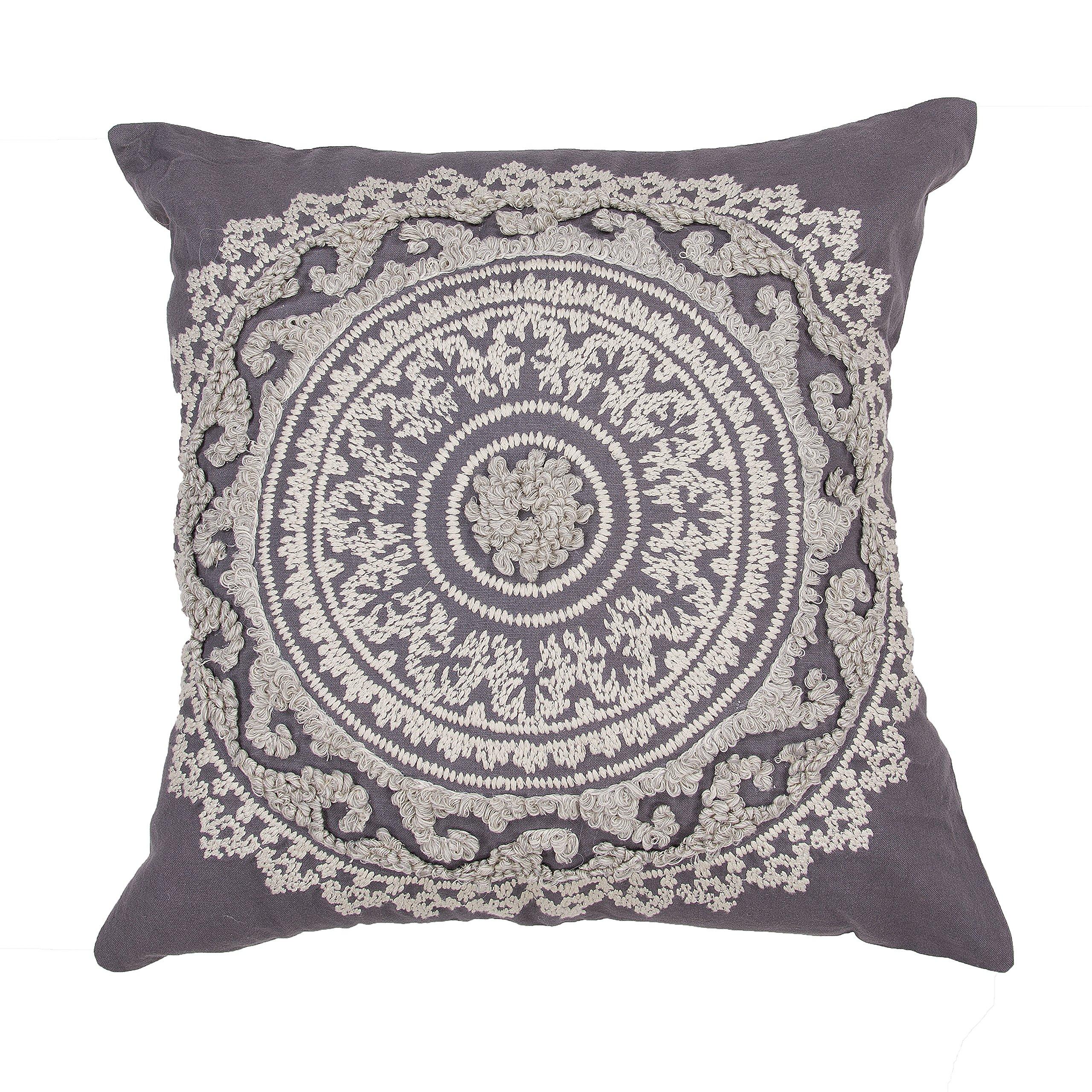 Jaipur Floral Pattern Dark Gray Cotton Polly Fill Pillow, 22-Inch x 22-Inch, Eiffel Tower Jen07