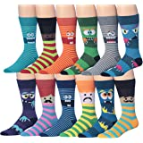 James Fiallo Mens 12-Pairs Funny Funky Crazy Novelty Colorful Patterned Dress Socks
