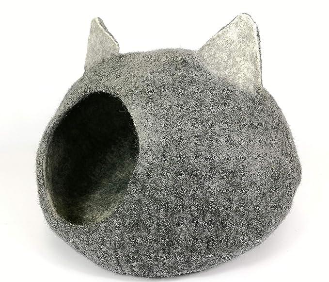 Tinie Fwends Igloo Cave - Cama para Gatos (tamaño Mediano a Grande), Color Gris 100% Hecho a Mano: Amazon.es: Productos para mascotas