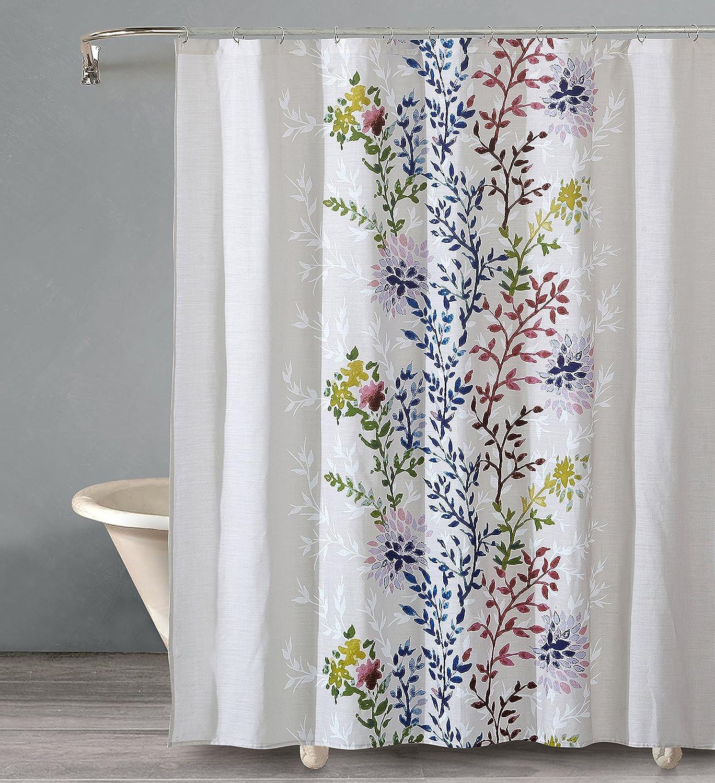 Amazon Com Style Quarters Dahlia Lane Shower Curtain Rainbow Color Floral Stems 100 Cotton Buttonhole Machine Washable 1pc 72 W X 72 L Kitchen Dining