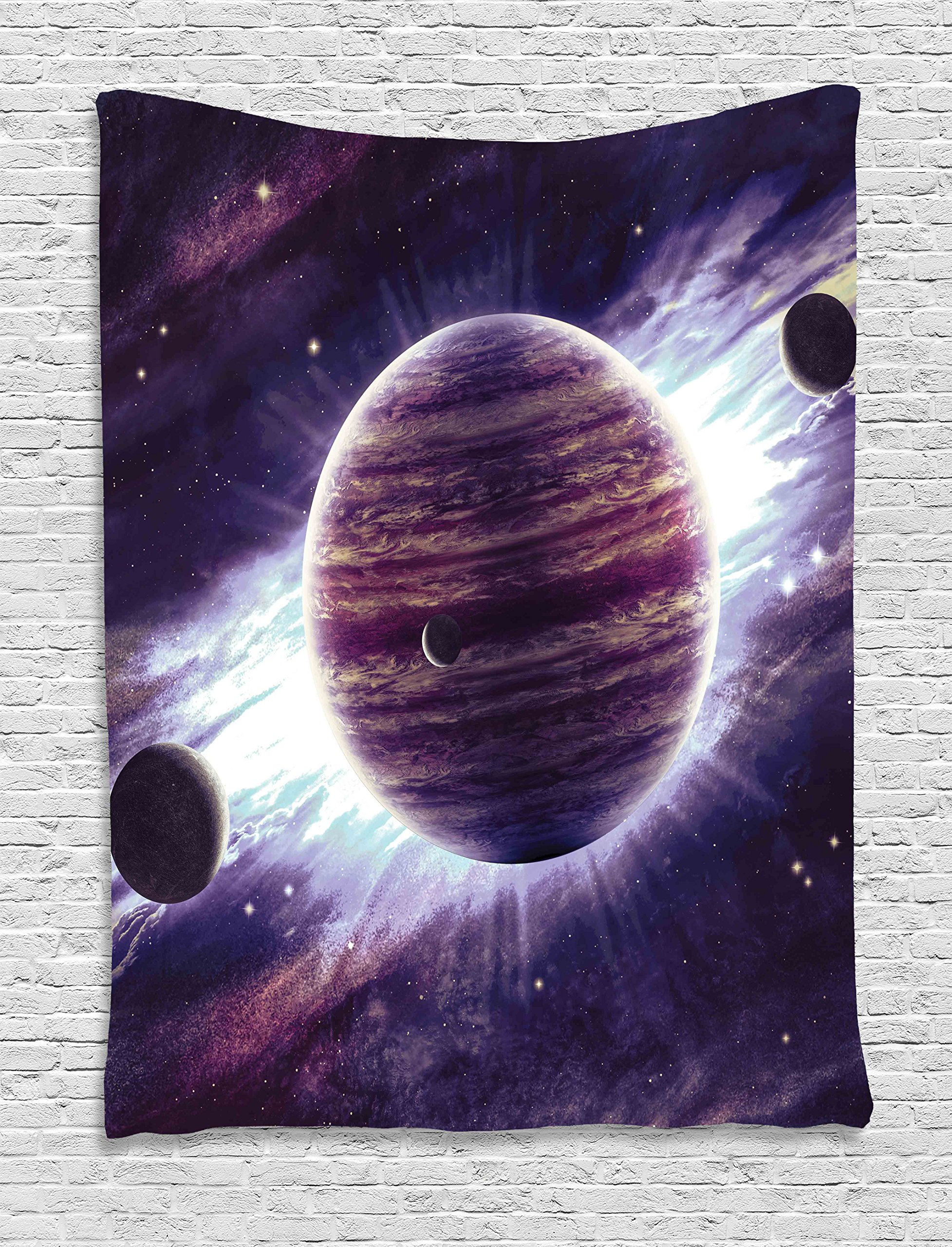 Ambesonne Galaxy Tapestry Wall Hanging, Outer Space Theme Planets Saturn Mars and Neptune Science Fiction Solar Scene Artprint, Bedroom Living Room Dorm Decor, 60 W x 80 L inches, Mauve Purple