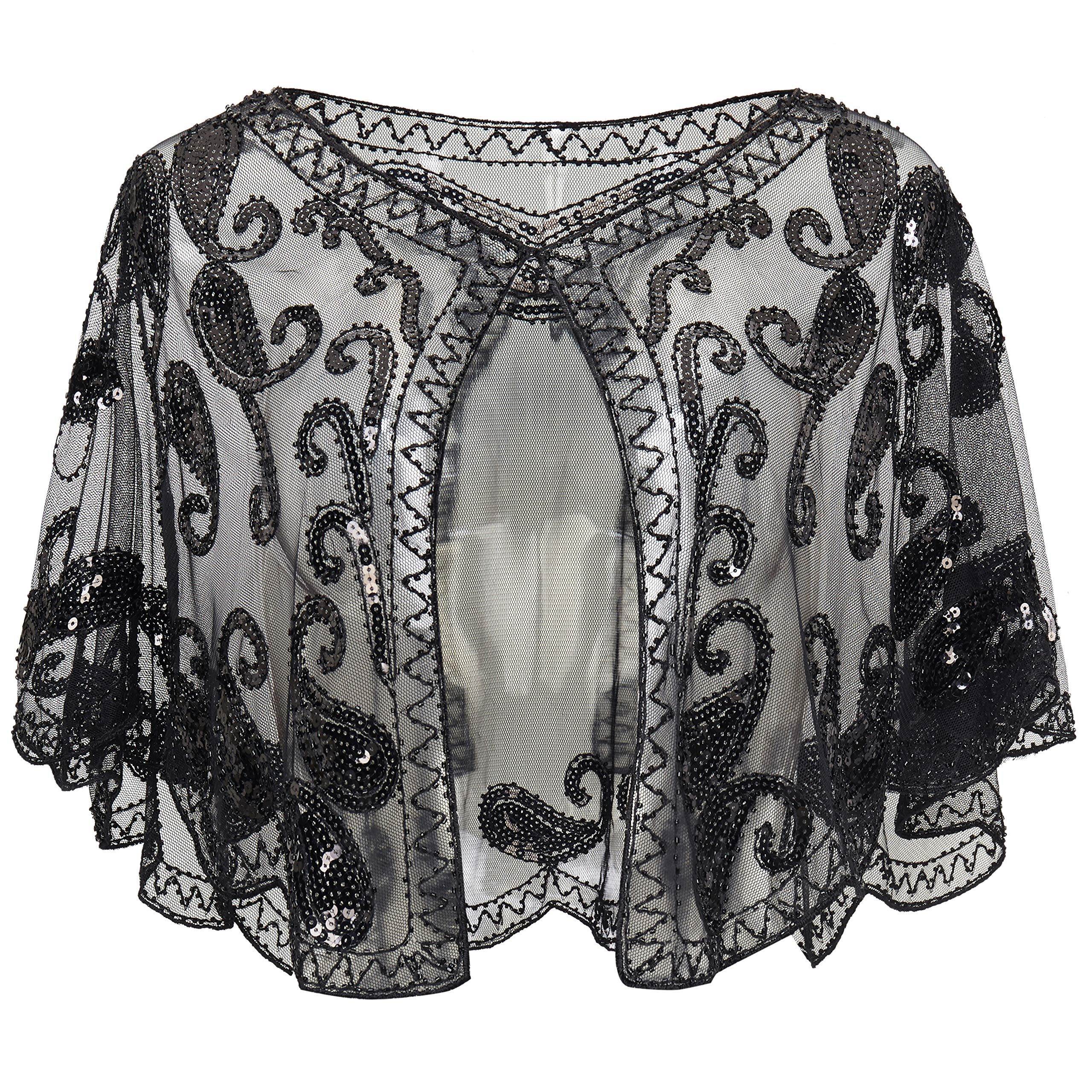 BABEYOND 1920s Shawl Wraps Beaded Evening Cape Bridal Shawl Flapper Cover Up (Black) by BABEYOND