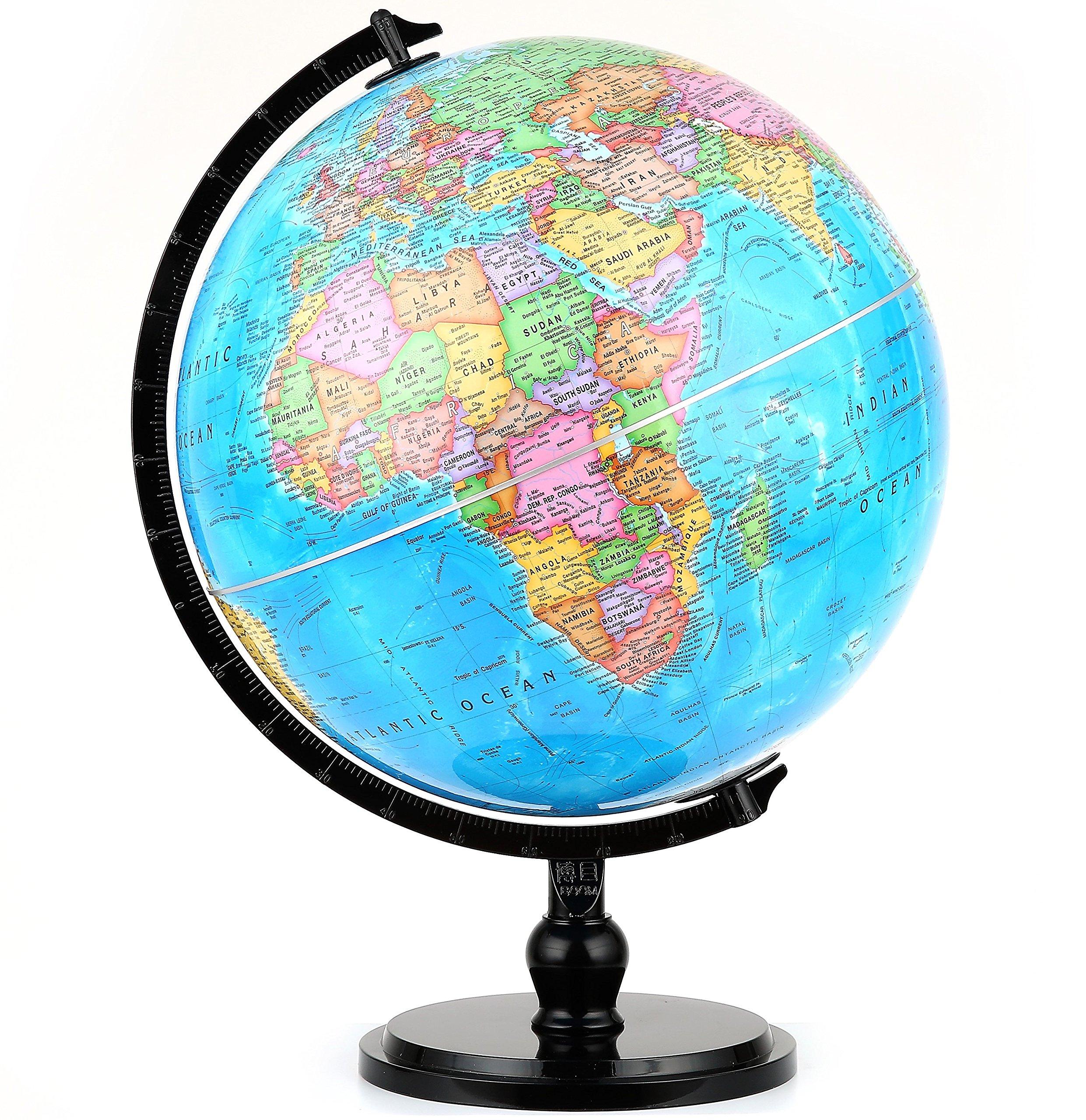 Illuminated Blue Ocean Globe (12.5''/32 cm diameter)-Educational Globe for Kids & Teachers, Over 5,000 Place Names, Energy-Saving LED, Weighted Base