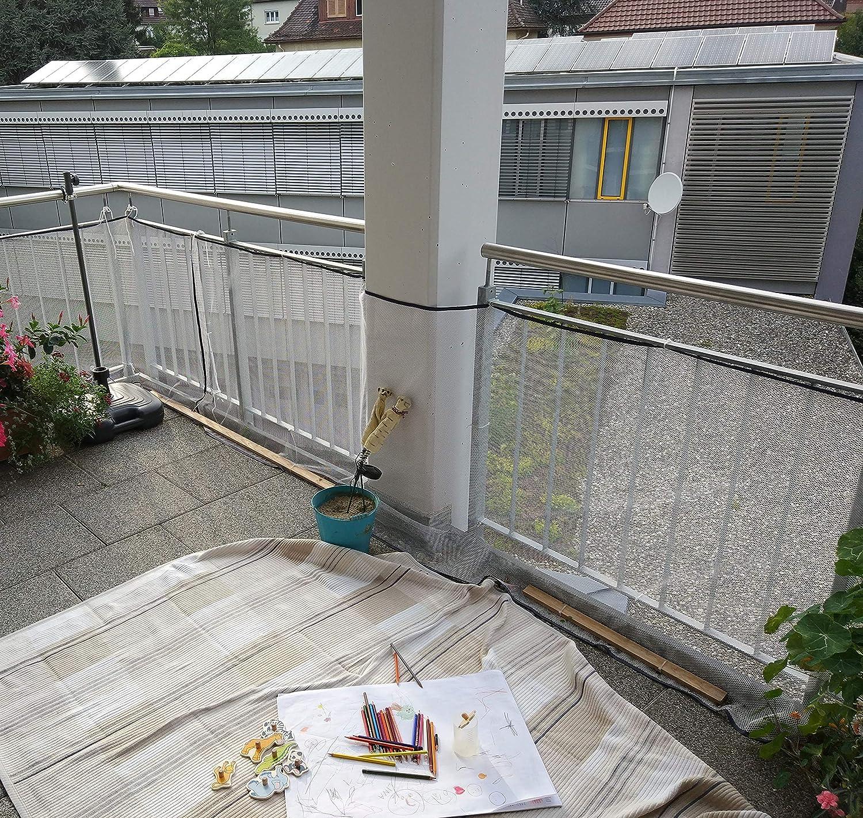 Red de protección para niños y mascotas, red para balcones y escaleras, 200 x 74 cm, color blanco